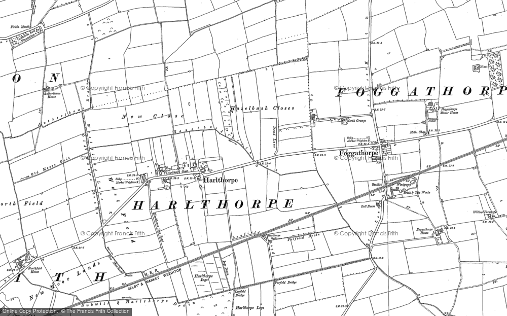 Old Map of Harlthorpe, 1887 - 1889 in 1887