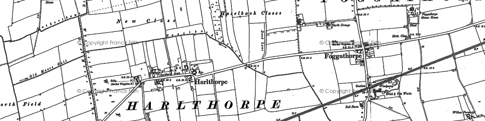 Old map of Aughton Ruddings Grange in 1887