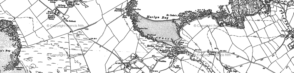 Old map of Harlyn Bay in 1880