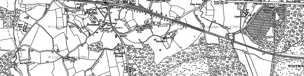 Old map of Harmans Water in 1898