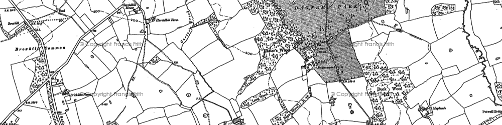 Old map of Harold Hill in 1895