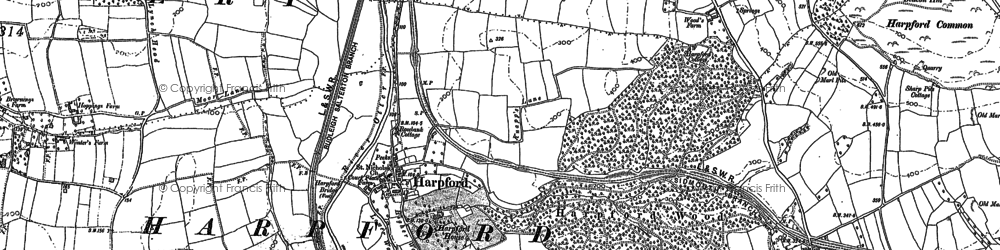 Old map of Harpford in 1888
