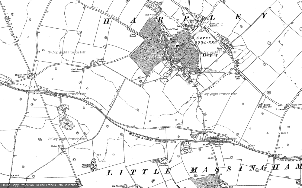 Old Map of Harpley, 1884 - 1885 in 1884