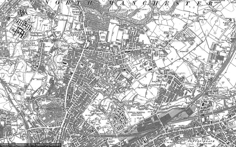 Map of Harpurhey, 1889 - 1891