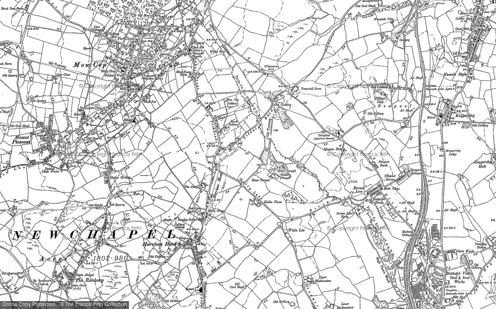 Old Map of Historic Map covering Thursfield Lodge in 1878
