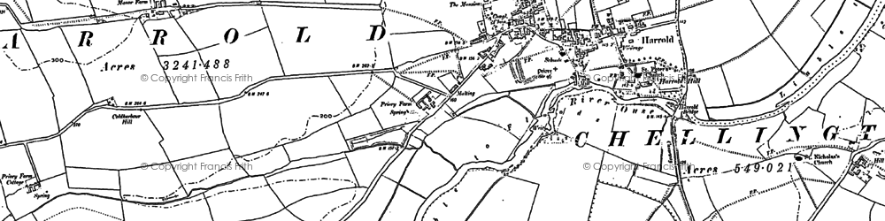 Old map of Harrold in 1900