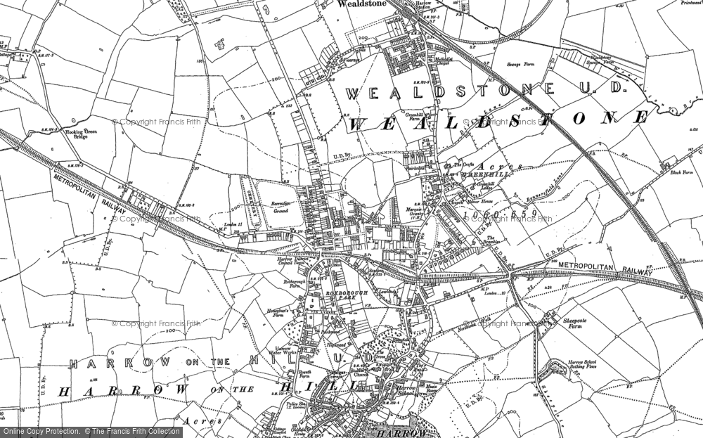 Map Of Harrow Map of Harrow, 1895   Francis Frith Map Of Harrow