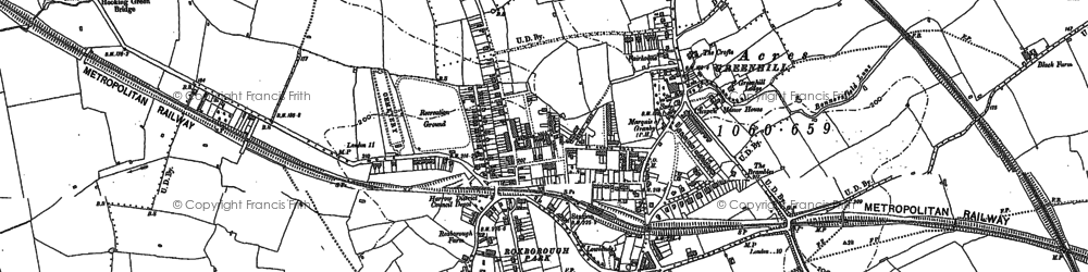 Old map of Harrow in 1895