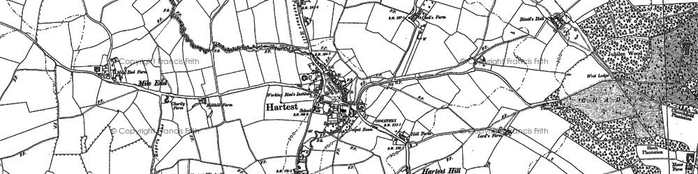 Old map of Hartest in 1884