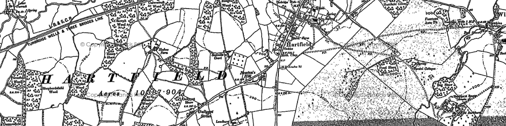 Old map of Hartfield in 1908