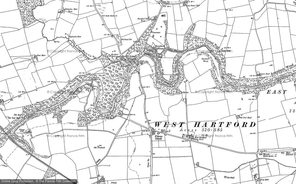 Map of Hartford Bridge, 1896 - Francis Frith