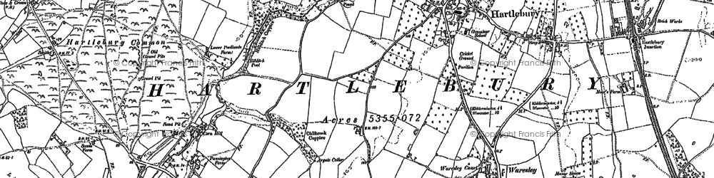 Old map of Hartlebury in 1883