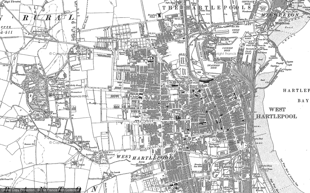 Old Map of Historic Map covering West Hartlepool in 1914