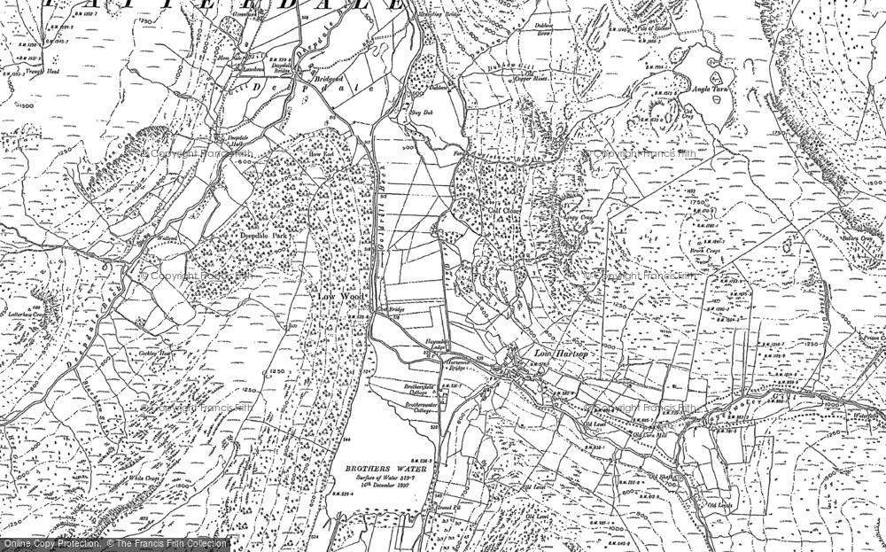 Old Map of Historic Map covering Lingy Crag in 1897