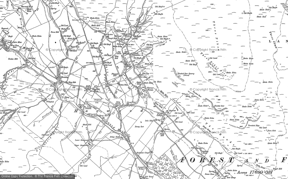 Old Map of Historic Map covering Lingy Hill in 1896