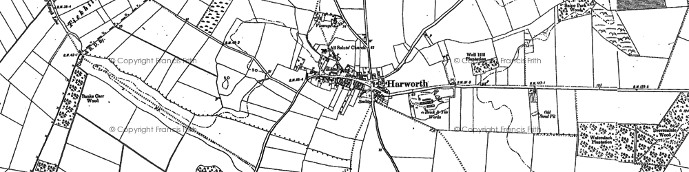 Old map of Harworth in 1885