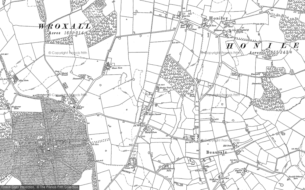 Old Map of Historic Map covering Wroxhall Abbey (sch) in 1886