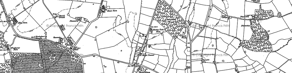 Old map of Wroxhall Abbey (sch) in 1886