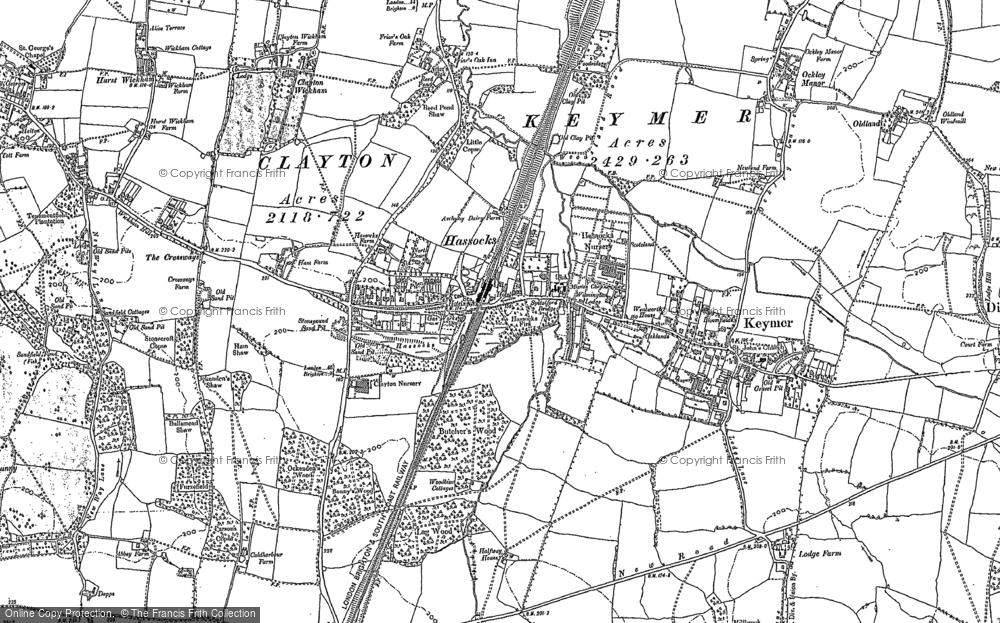Old Map of Hassocks, 1896 - 1897 in 1896