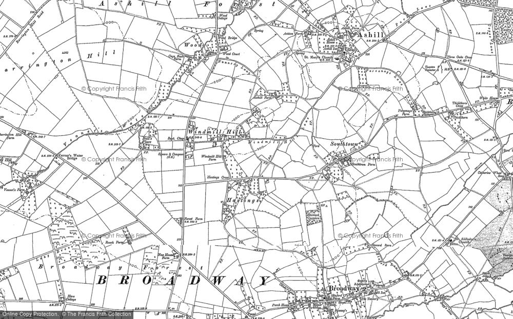 Old Map of Historic Map covering Windmill Hill in 1886