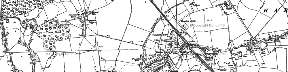 Old map of Hatch End in 1894