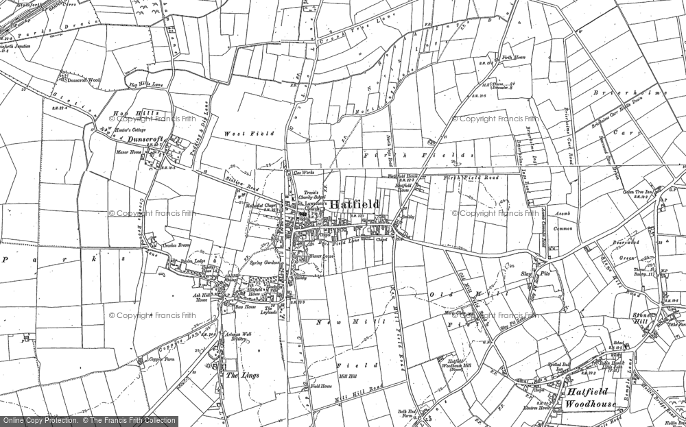Old Map of Historic Map covering Lings Windmill in 1891