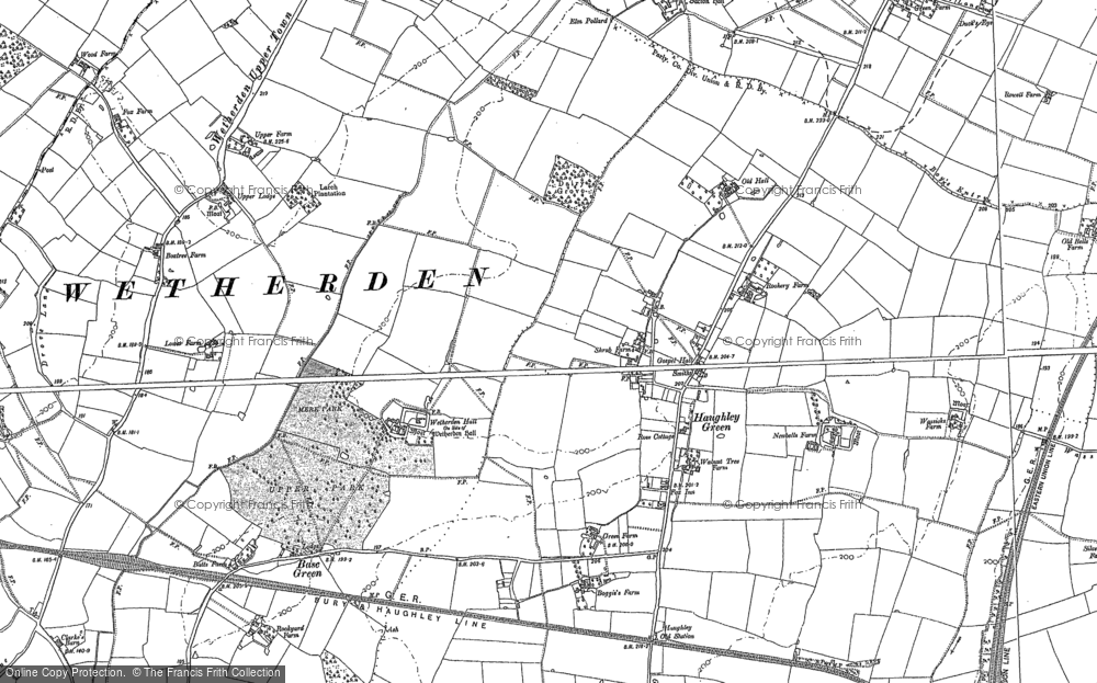 Old Map of Historic Map covering Bacton Green in 1884
