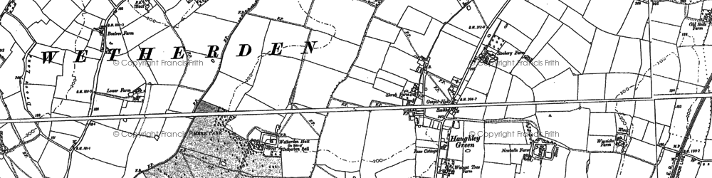 Old map of Bacton Green in 1884