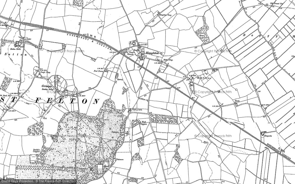 Old Map of Haughton, 1875 - 1880 in 1875