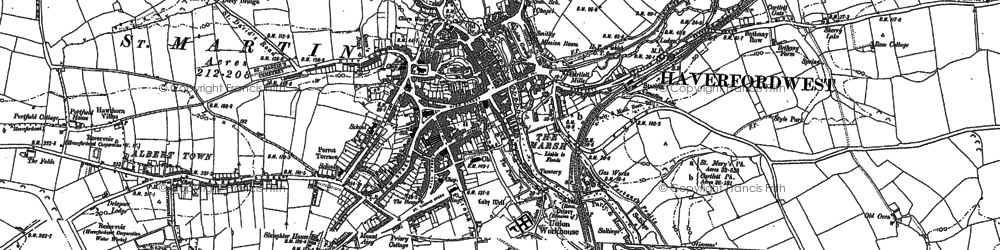 Old map of Haverfordwest in 1887