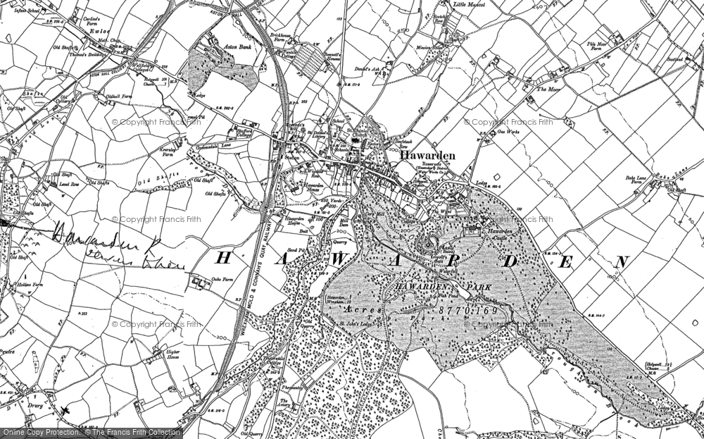 Old Map of Historic Map covering Aviary, The in 1898