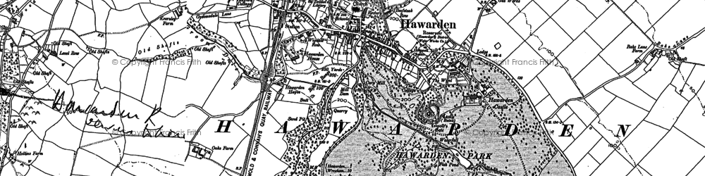 Old map of Hawarden in 1898