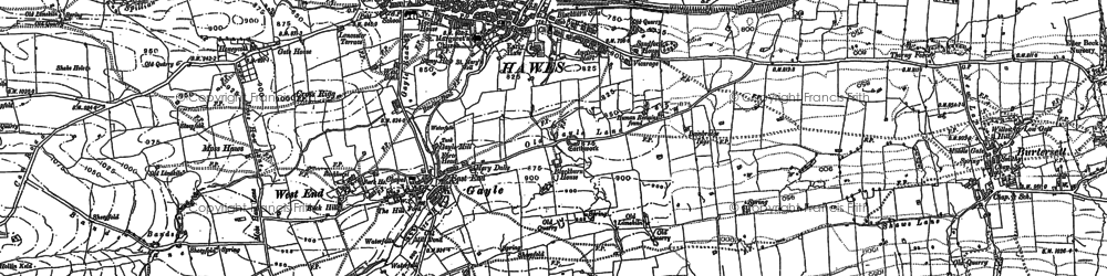 Old map of Wether Fell Side in 1892