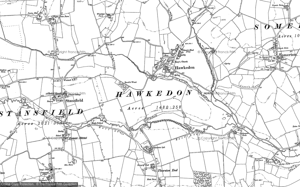 Old Map of Historic Map covering Thurston End in 1884