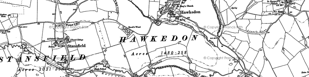 Old map of Thurston End in 1884