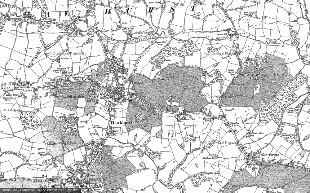 Old Map of Hawkhurst, 1907 in 1907