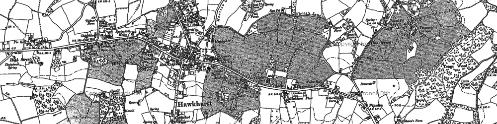 Old map of Hawkhurst in 1907