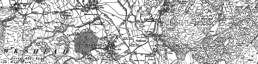 Old map of Hawkshead in 1912