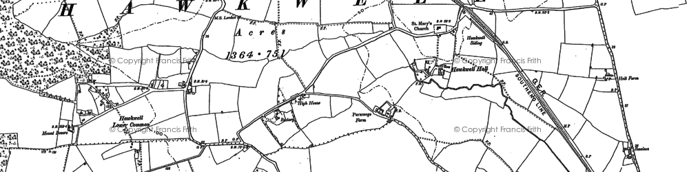 Old map of Hawkwell in 1895