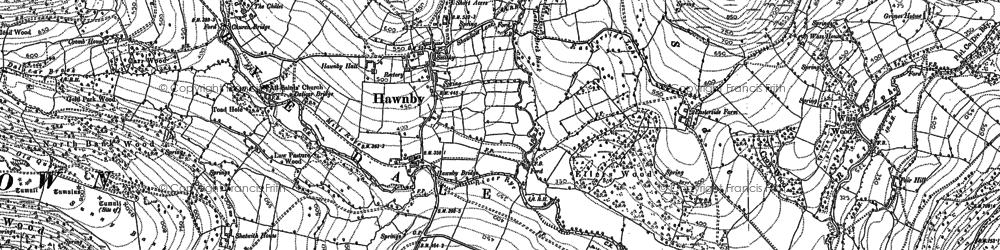 Old map of Woolhouse Croft in 1891