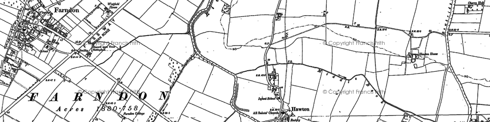 Old map of Hawton in 1886