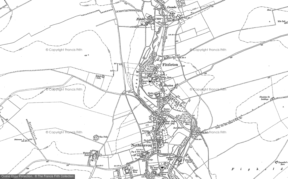 Old Map of Historic Map covering Airfield Camp Netheravon in 1899
