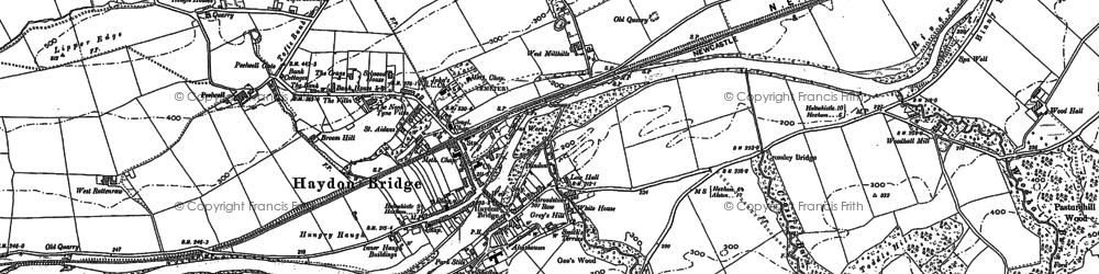 Old map of Haydon Bridge in 1895