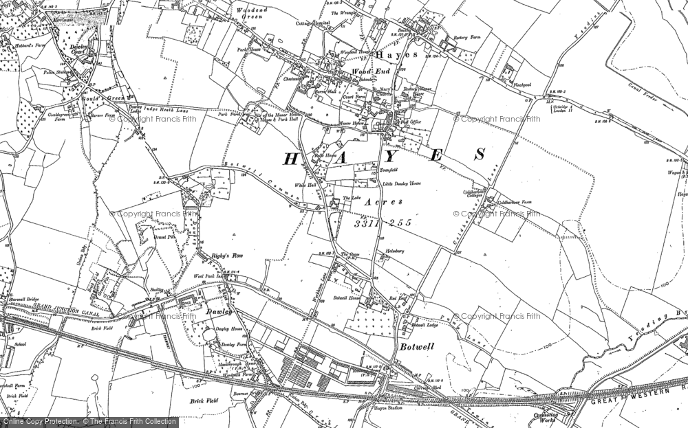 Old Map of Historic Map covering Wood End Green in 1894