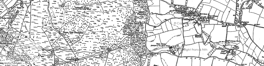 Old map of Hayes Barton in 1888