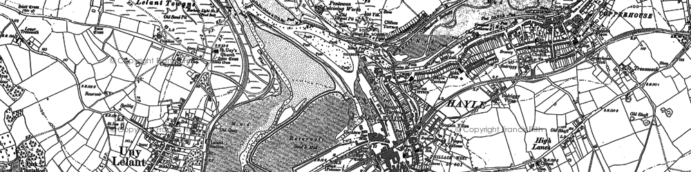 Old map of Hayle in 1877