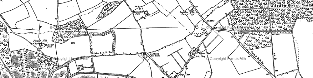 Old map of Haynes Church End in 1882