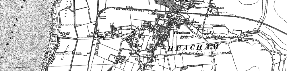 Old map of Heacham in 1885