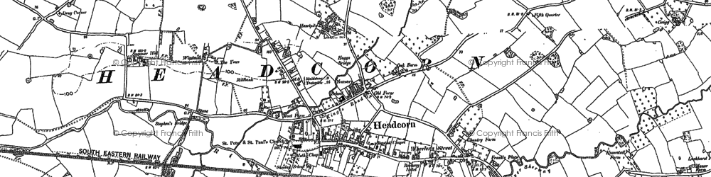 Old map of Headcorn in 1896