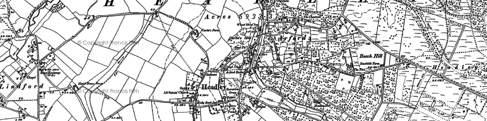 Old map of Headley in 1909